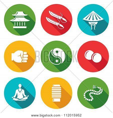 Wing Chun Icons Set. Vector Illustration.