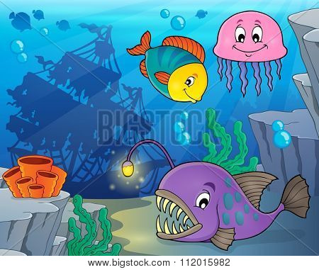 Ocean fauna topic image 3 - eps10 vector illustration.