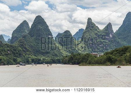 Karst Mountains And Limestone Peaks Of Li River In   China