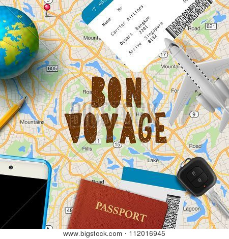 Bon voyage, planning vacation trip with map