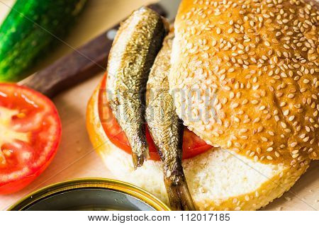 Sandwich With Smoked Sardines