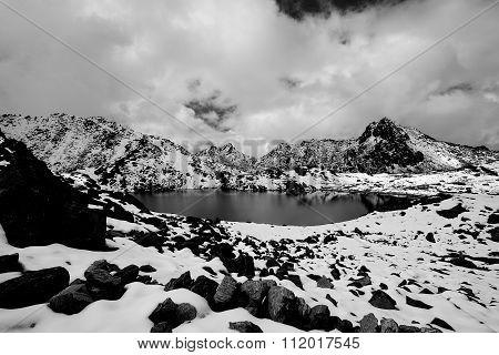 Gosaikunda - A Frozen Lake High Up In Himalayas, In Nepal's Langtang National Park