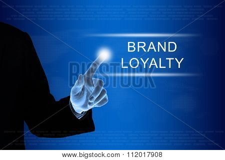 Business Hand Clicking Brand Loyalty Button On Touch Screen