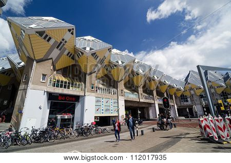 Rotterdam, Netherlands - May 9, 2015: People Around Cube Houses The Iconic In Rotterdam.