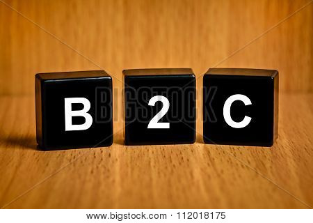 B2C Or Business-to-consumer Word On Black Block