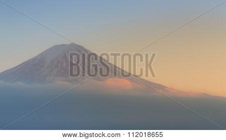 Closeup Fuji Mountain during sunset