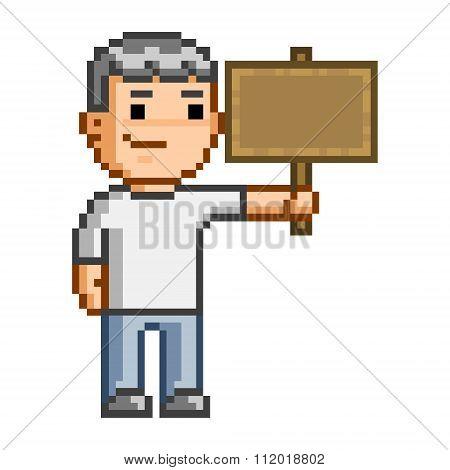 Pixel Art Wooden Plaque