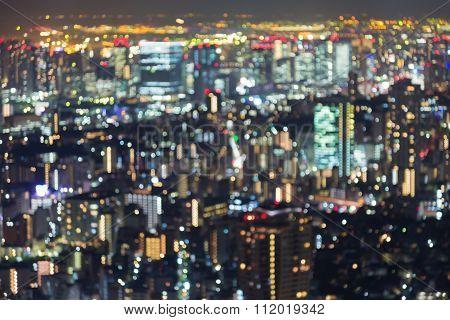 Aerial view blurred bokeh lights, Tokyo city, Japan