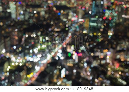 Aerial view cityscape blurred bokeh background