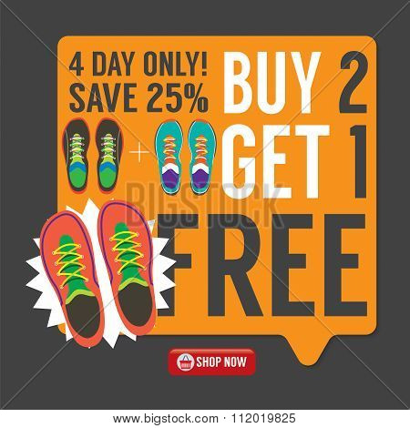 Buy 2 Get 1 Free Sneakers Promotion Campaign.