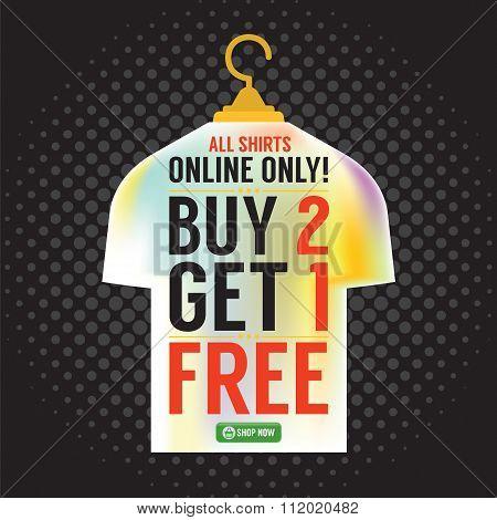 Buy 2 Get 1 Free Apparel Promotion.