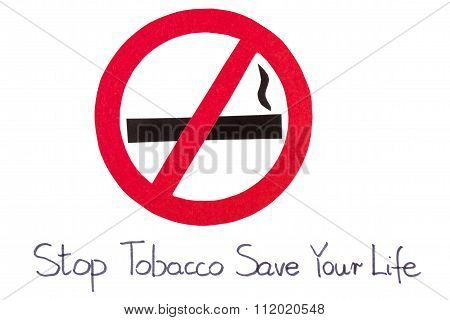 Red Round No Smoking Sign, Stop Tobacco Save Your Life