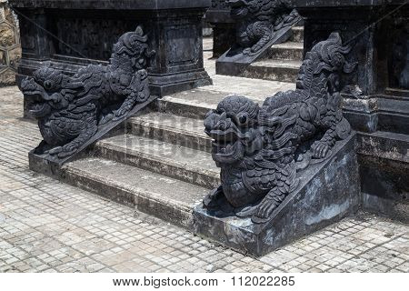 Stairs And Dragons In Imperial Khai Dinh Tomb In Hue,  Vietnam