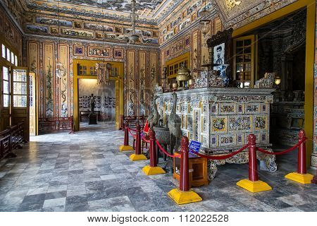 Hue, Vietnam - Circa August 2015: Main Pavilion In Imperial Khai Dinh Tomb In Hue,  Vietnam
