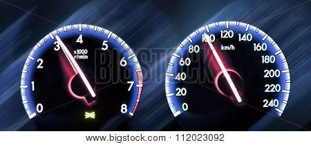 Car Speedometer On Dark Background