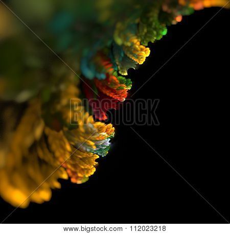 Abstract Black Background With Multi Colored - Orange, Yellow, Green Leaf Edge With Blur And Focus I