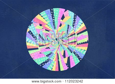 Abstract Colorful Circle. Curved Lines, Geometric Shapes, Dots, Zigzag, Color Wheel. Hypnosis.