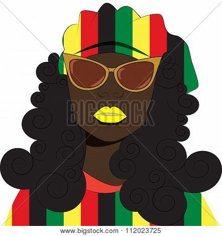 Rastafarian Girl In A Beret And Sunglasses.