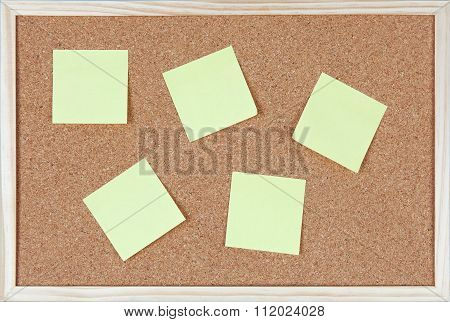 Six Post it Notes Sticked On Corkboard