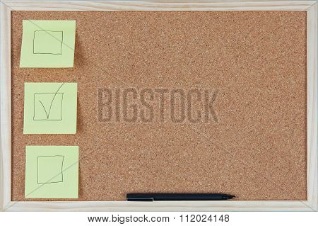 Checkbox Sticky Notes On Corkboard