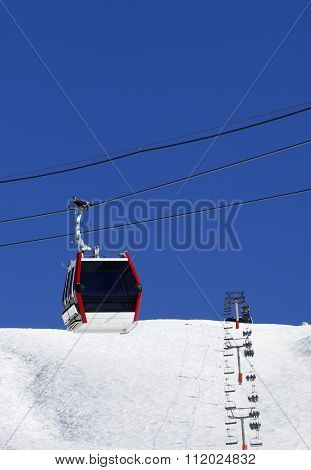 Gondola And Chair-lifts At Ski Resort In Nice Day