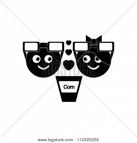 flat icon in black and white style boy girl cinema