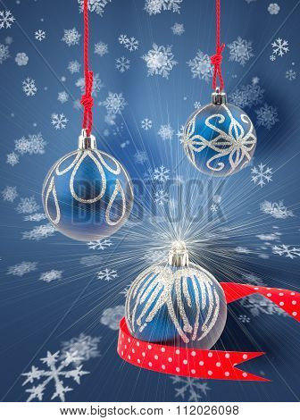 Three Christmas Baubles With Snowflakes Background
