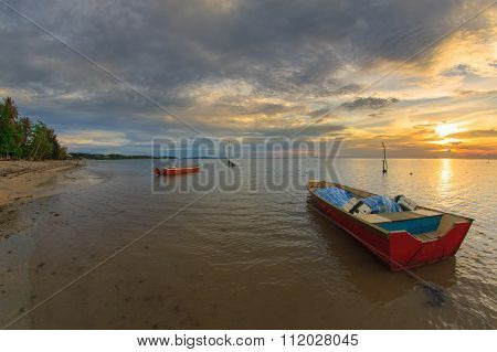 Cloudy Sunset With Fisherman Boats Over Sungai Miri Beach Labuan FT, Malaysia