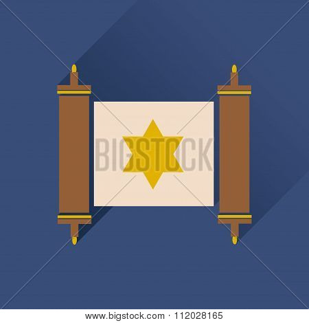 Flat icon with long shadow Torah scroll