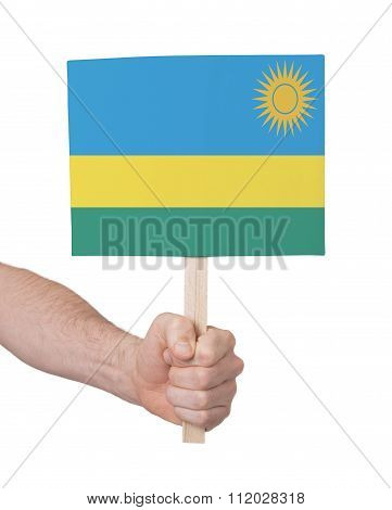 Hand Holding Small Card - Flag Of Rwanda