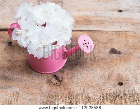 White Bouquet In Pink Flowerpot