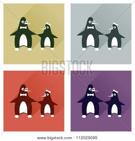 Set of flat web icons with long shadow pair penguins