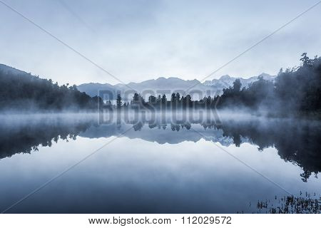 Beautiful Reflections Of Southern Alps At Lake Matheson