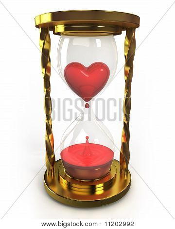 Golden Hourglass With Heart And Blood