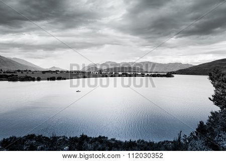 Lone Boat On Lake Wanaka, Otago, South Island, New Zealand