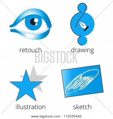 Printing shop services blue icons set. Part 4