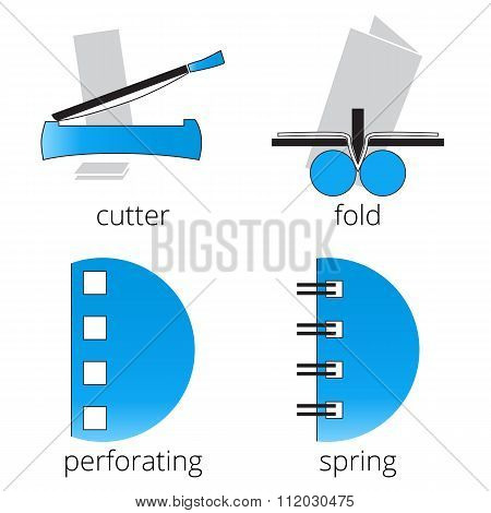 Printing shop services blue icons set. Part 7