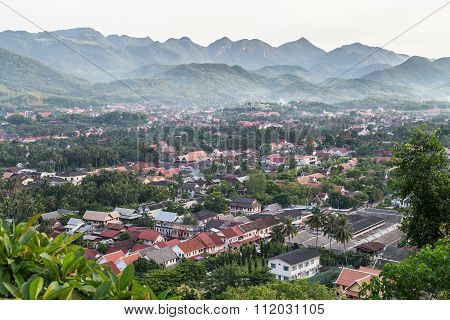 View Of Luang Prabang, Laos From Mount  Phousi