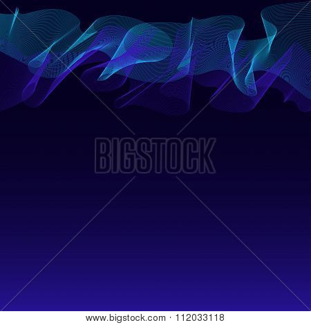 Abstract Waves-lines Dark Blue Background With Turquoise Northern Lights Texture