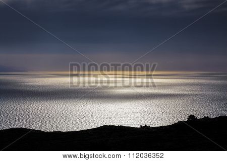 Smooth Water Surface With Light And Shadow Play At Sunset, Bluff Hill Lookout, New Zealand