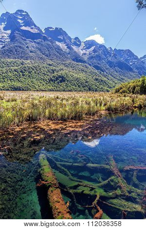 Beautiful Mirror Lakes, Off Milford Sound Highway, Fiordland, New Zealand
