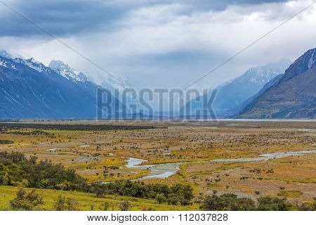 Tasman River At Aoraki Mount Cook National Park