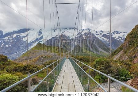 Suspension Bridge Over Hooker River, Mount Cook National Park, New Zealand