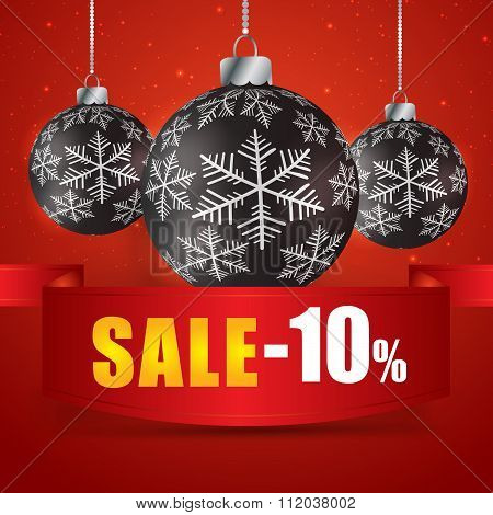 Winter Sale 10 Percent. Winter Sale With Red Background. Sale. Winter Sale. Christmas Sale. New Year