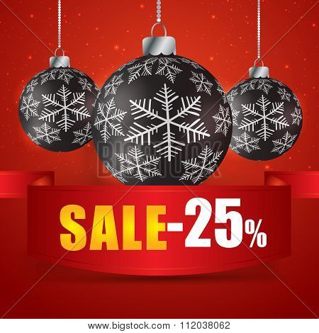 Winter Sale 25 Percent. Winter Sale With Red Background. Sale. Winter Sale. Christmas Sale. New Year
