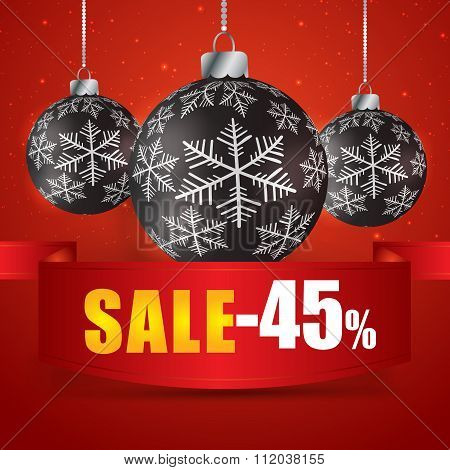 Winter Sale 45 Percent. Winter Sale With Red Background. Sale. Winter Sale. Christmas Sale. New Year