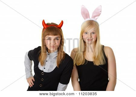Two Friends In Festive Costume Devil And Bunny