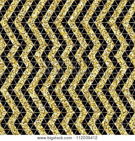Tribal glitter golden seamless pattern.