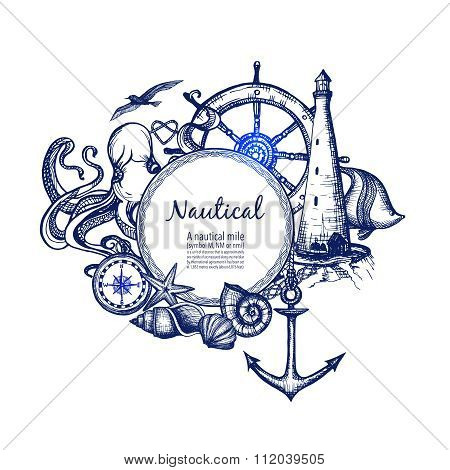 Nautical marine composition icon doodle