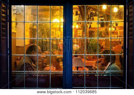 View Through Blurred Restaurant Window.